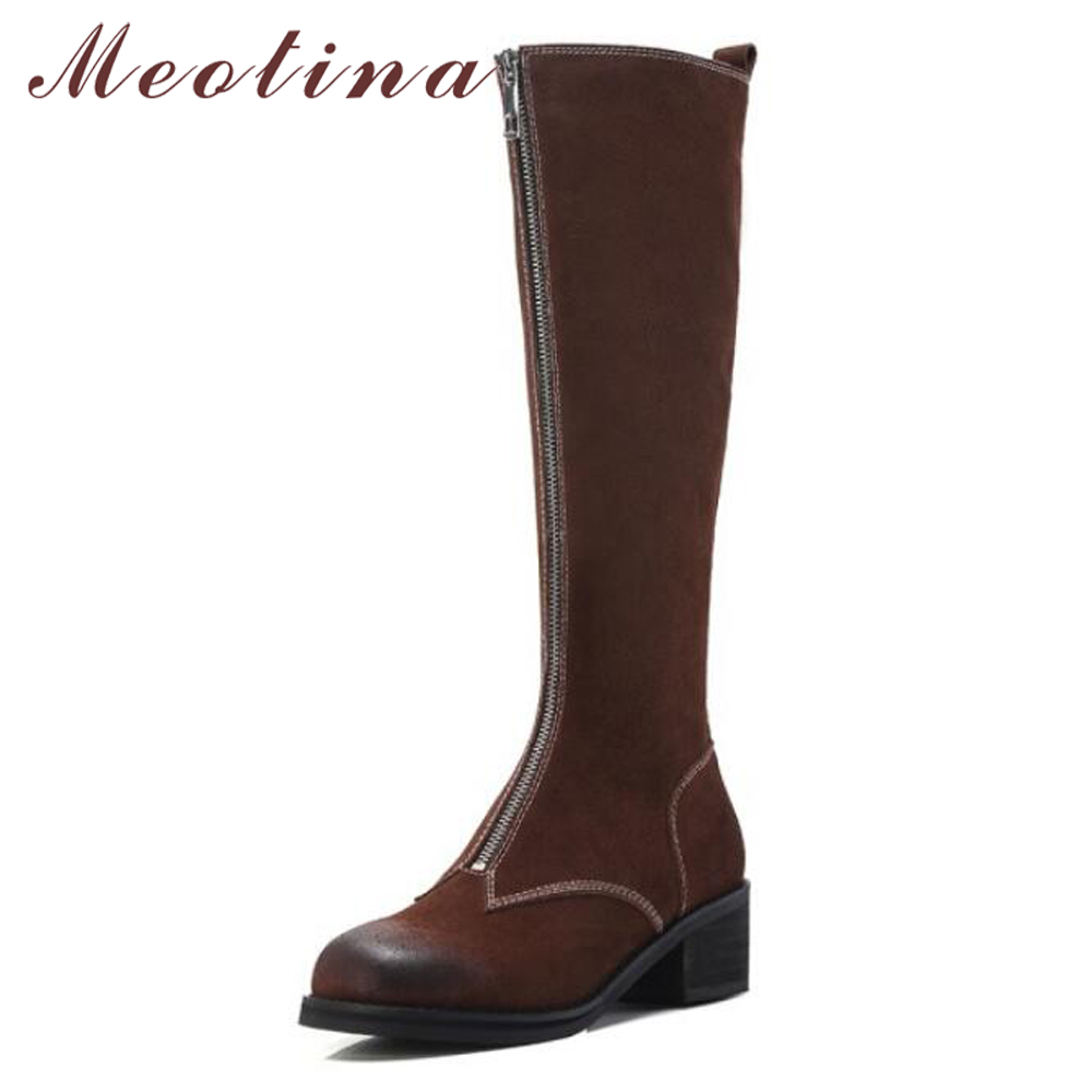 Meotian Knee High Boots Women Front Zipper Cow Suede Leather Riding Boots Sewing Winter Thick Heel Long Boots Ladies Shoes Black stretch lycra womens knee high boots thick mid heel long riding boots shoes winter autumn boots black beige wine dark gray