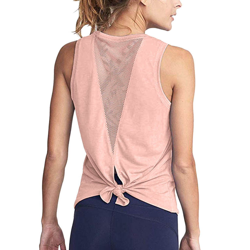 Women Cute Workout Mesh Shirts Activewear Sexy Open Back Sports   Tank     Tops   Mesh stitching backless tie knot vest