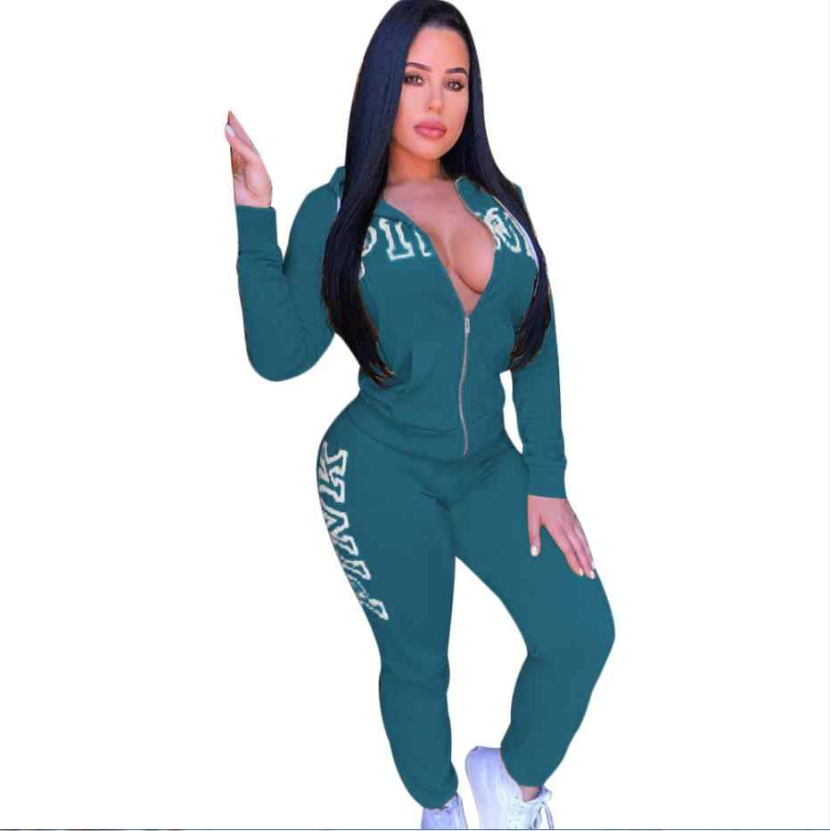 2018 春手紙ピンク印刷トラックスーツ女性カジュアル服 2 個セットパンツスーツプラスサイズの服