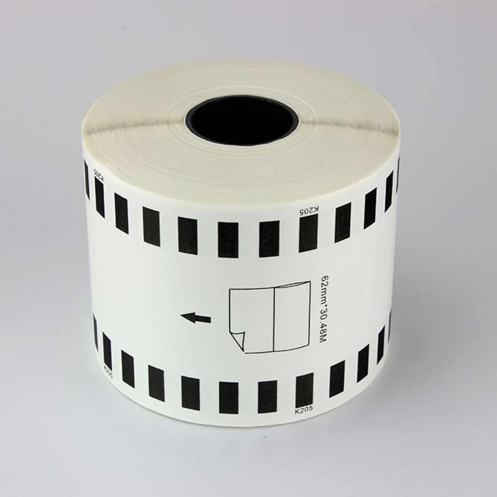 2 x Gulungan DK-22205 Kompatibel Label, 62mm x 30.48 m, DK 22205, DK 2205 Berkelanjutan Kertas thermal Label barcode stiker