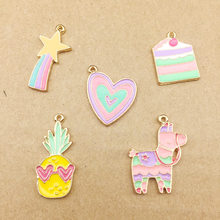 10pcs Korean love enamel color heart rainbow charms pineapple meteor horse cake charms accessories earrings pendant DIY dangle(China)