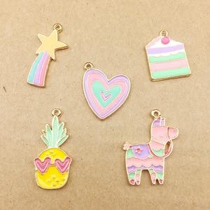 10pcs Korean love enamel color heart rainbow charms pineapple meteor horse cake charms accessories earrings pendant DIY dangle(China)