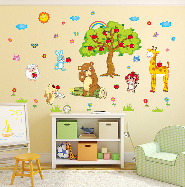 animals under the apple tree wall stickers for kids rooms decor diy