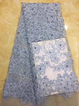 Free shipping 5yards/pc) beaded African tulle lace fabric skyblue French net lace fabric with embroidery for party dress FZZ093B
