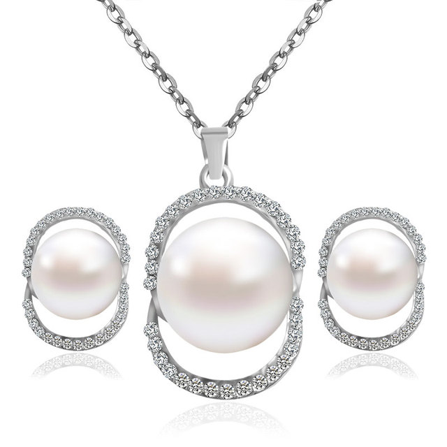 F&U Romantic Style Silver Color Crystal with Pearl Necklace and Earrings Jewelry Set for Wedding S002