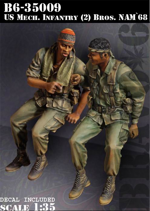 1/35 resin figures model kit Vietnam War US soldiers (2pcs/lot) Unpainted XD167 image