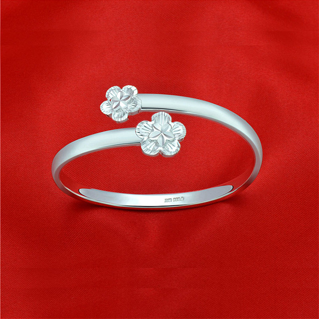 Plum Blossom Bangle 999 Fine Silver Bracelet & Bangles Fine Jewelry For Women Anniversary Gift Pure Silver Bangle