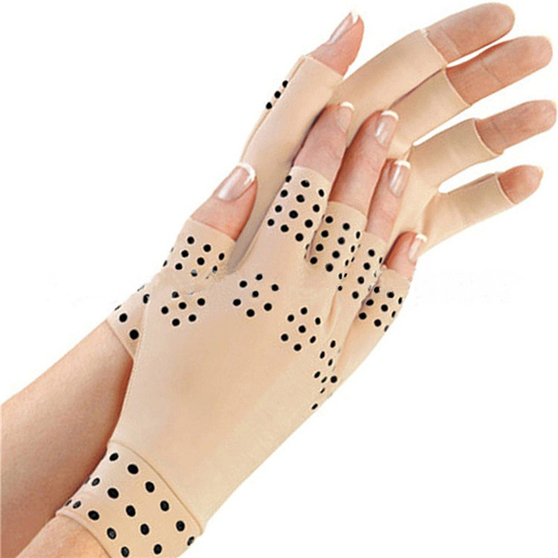 1 Pair Magnetic Therapy Fingerless Gloves Arthritis Pain Relief Heal Joints Free Size for Man Woman pair of stylish wavy edge solid color overlong knitted fingerless gloves for women