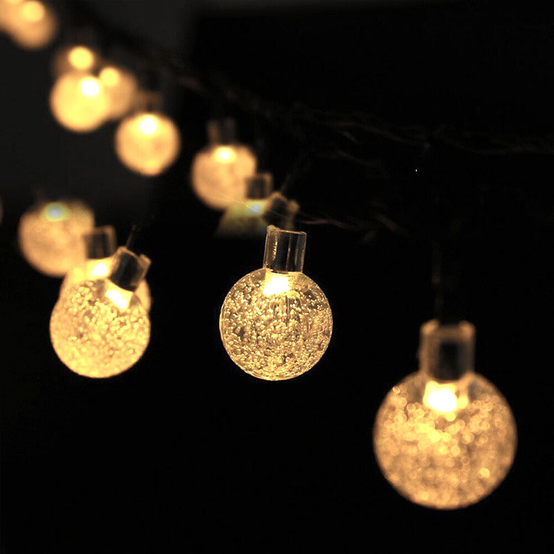 6M 30LED Lights Solar Powered Fairy Bubble Ball String Light Outdoor For Christmas Festival Garden Decorative Lamps AI88