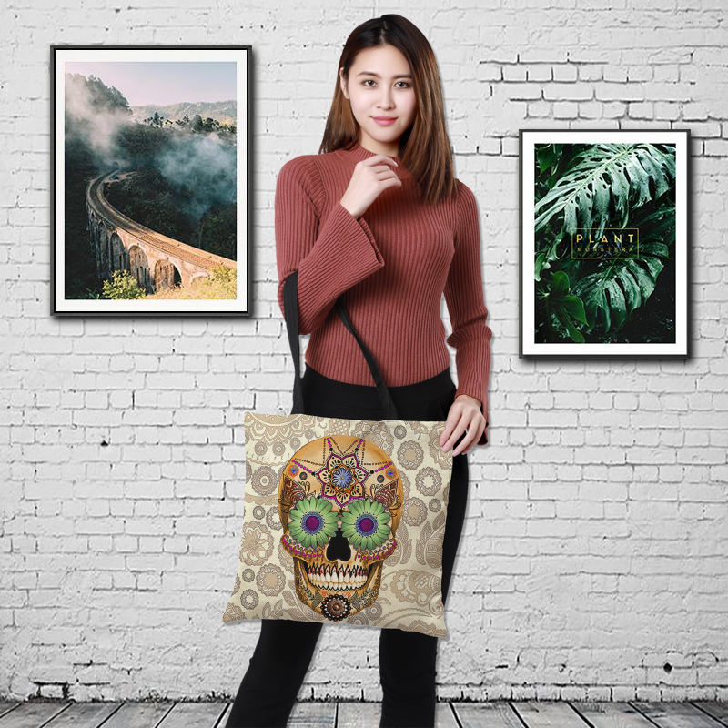 Linen Printing Shopping Bag Women Bag Double-sided Printing HandbagThe Skeleton Series Printed Bag Landing Shoulder Bag 43*43cm
