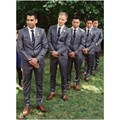New Custom Made Groom Wear Two Buttons Gray Suits Luxury Bridegroom Tuxedos Men Suits (Jacket+Pants+Vest)