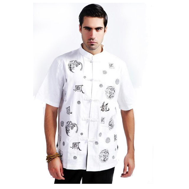White Chinese Tradition Men Tai Chi  Shirt Cotton Linen Tops Summer Short Sleeve Clothing Size M L XL XXL XXXL MS065