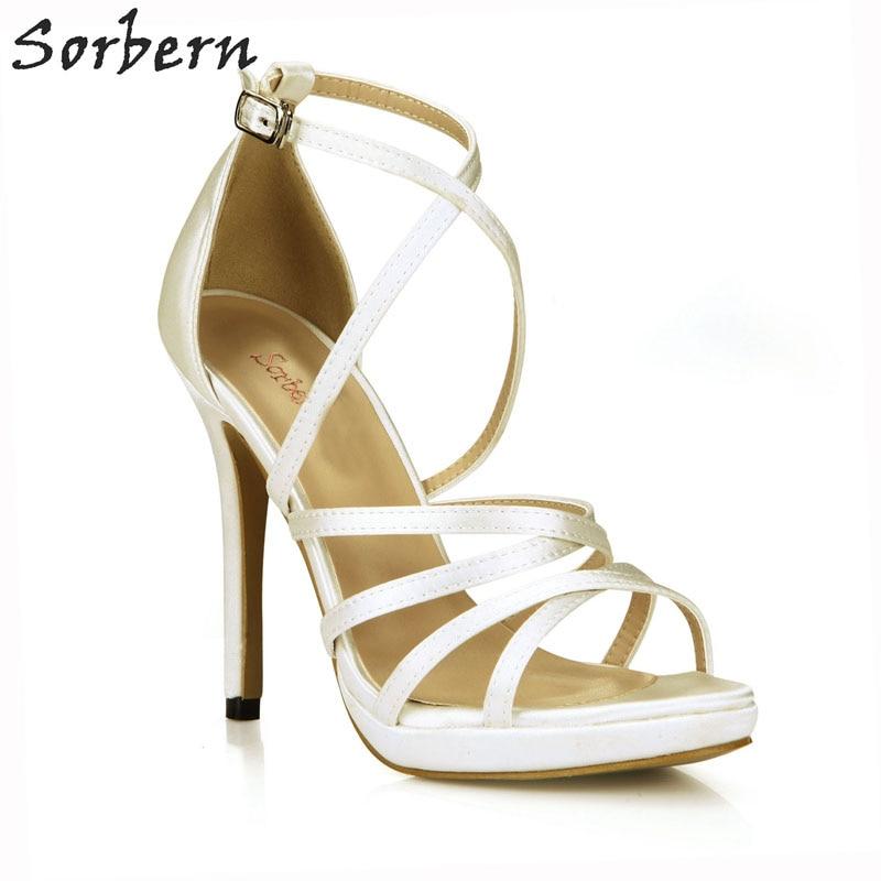 Sorbern Ivory Silk Cross Tied Women Sandals Ultra High Platform Heels Wedding Shoes Women Open Stiletto Runway Shoe Women Custom anex 3 в 1 cross ivory