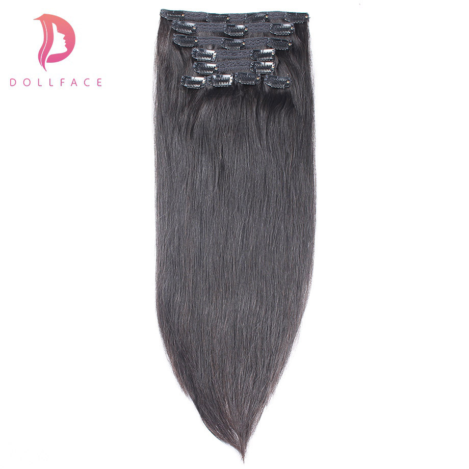 dollface Straight Clip in Human Hair Extensions Brazilian Remy Hair Clips ins 100g 9pcs 1 1B