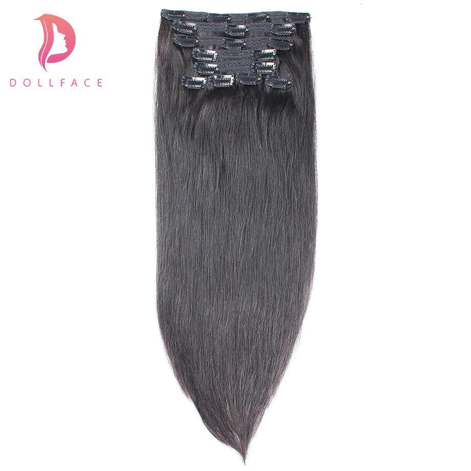 Dollface Düz Klip insan saçı postiş Brezilyalı Remy Saç Klipleri ins 100g/9 adet 1 # # 1B #2 #4 #27 #613