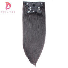 dollface Straight Clip in Human Hair Extensions Brazilian Remy Hair Clips ins 100g/9pcs 1# #1B #2 #4 #27 #613(China)