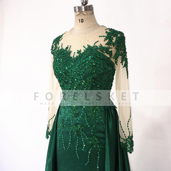 Long Sleeves Satin Mermaid Prom Dresses Green 2020 Engagement Celebration Saudi Arabia Beaded Lace Formal Evening party Gowns 5