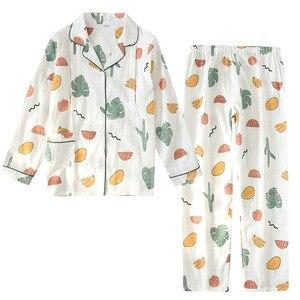 Image 5 - 100% Cotton Gauze Thin Maternity Wear Women Pajamas Set Loose Breastfeeding Clothing Cartoon Sleepwear Autumn Plus Size Pajamas
