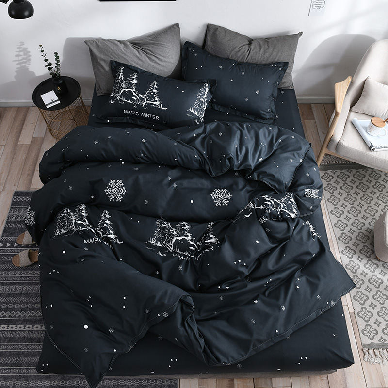 Snowflake Christmas Girl Boy Kid Bed Cover Set Duvet Cover Adult Child Bed Sheets Pillowcases Comforter Bedding Set 2TJ-61007