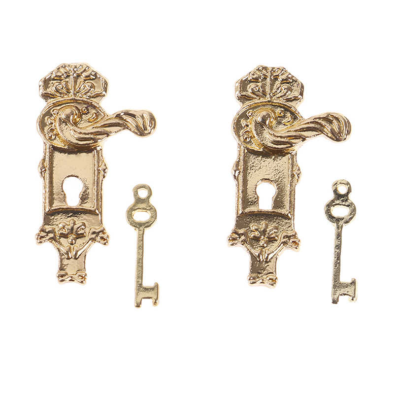 4 Sets Miniature Alloy Door Locks With Keys For 1//12 Dollhouse Accessories