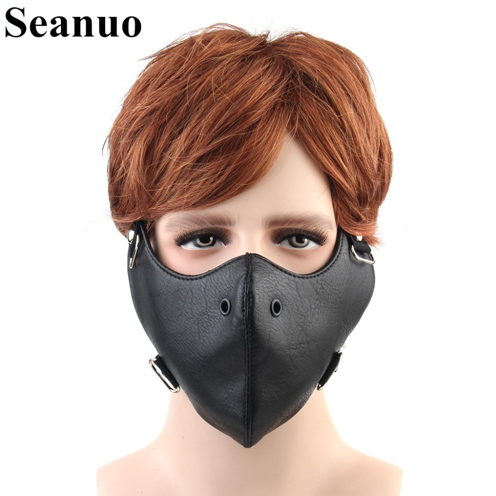 Seanuo 2018 Genuine Leather Cosplay Party Mask Fashion Steampunk Men Halloween Motorcycle Biker Cool Mask Scary Holiday Supplies