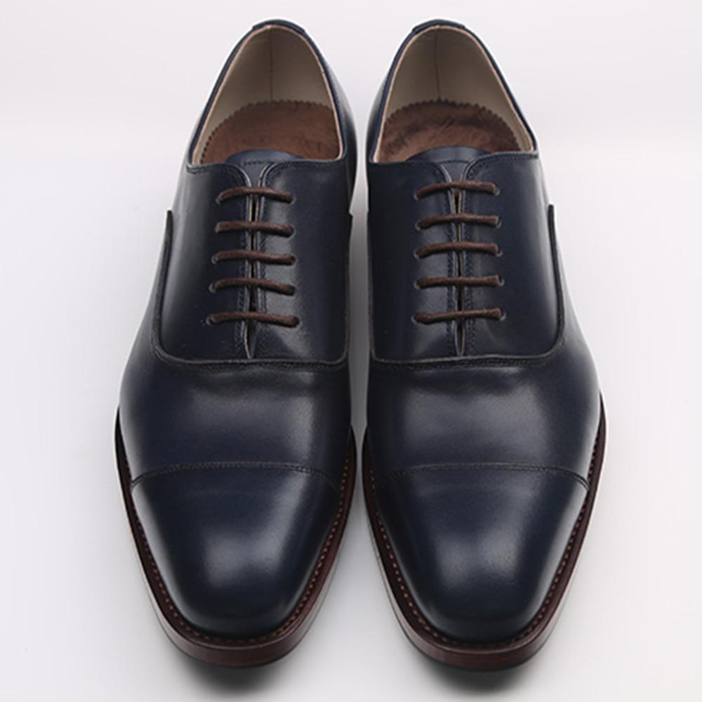 Luxury Brand Mens Bespoke Goodyear Welt Oxfords Shoes Elegant Formal Mens Dress Shoes Royal Blue Mens Tuxedo Shoes Italy Style