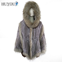Free Shipping 2017 Hot New Fashion Ladies Rabbit Fur Knit Shawl Real Fur Cloak With Big Raccoon fur Collar Pashmina For Women