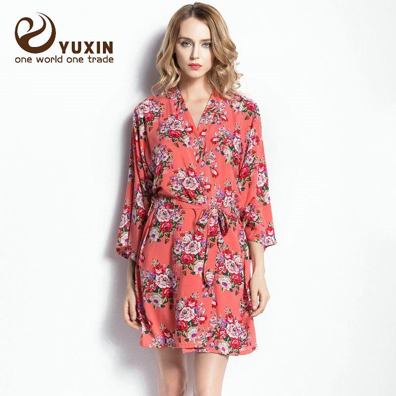 3fdcd66666 CR001 Cotton Floral Robe Floral Women Wedding Bridal Kimono Robe Flower Satin  Silk Lady Spa Night Dress Free Shipping
