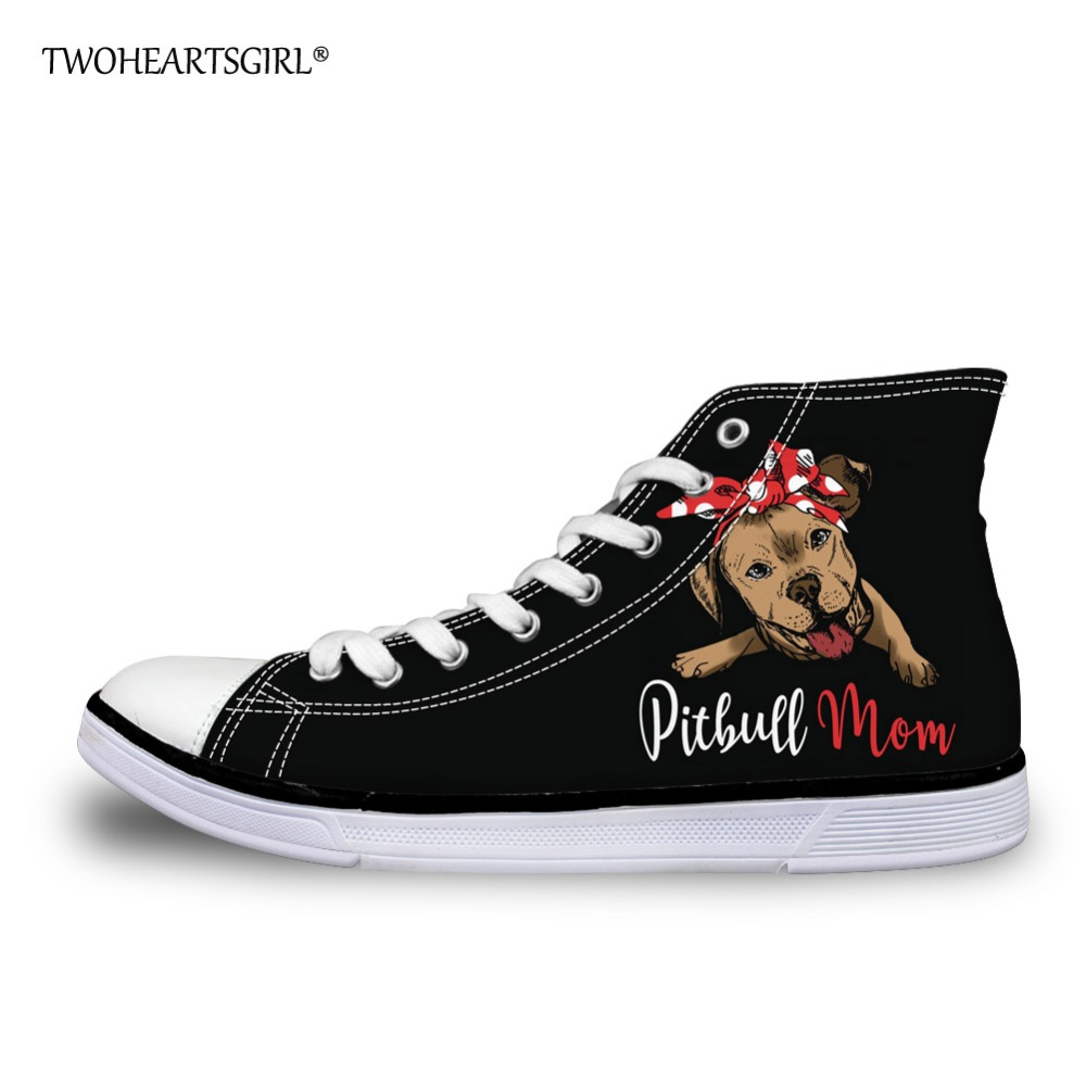 I Love Pit Bull Pet Dog Pattern Womens Canvas Shoes Cute Low Top Skateboard Sneakers for Women