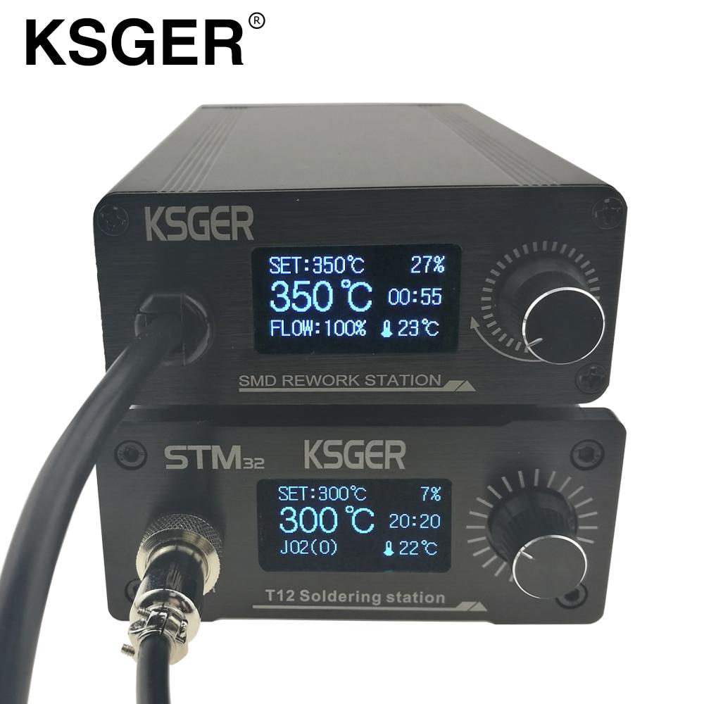 KSGER STM32 OLED T12 Soldering Station Hot Air Gun Rework Resoldering Station Electric Soldering Iron T12