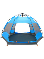 outdoor 5 8 person double six corner beach full automatic tent camping camp rain shelter camping 2 seconds speed open waterproof