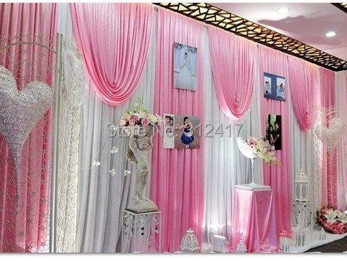 Hotsale 10x20 elegant white and pink baby shower backdrop , swag ...