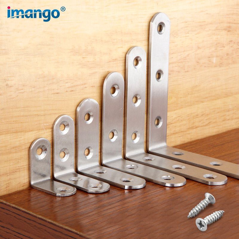 Stainless Steel 90 Degree Angle Bracket,Corner Brace Joint Bracket Fastener Furniture Cabinet Screens Wall,with Screws 1 PCS