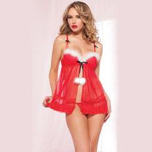 faa02264b0 2018 Navidad mujeres sexy lingerie Ropa interior tentación bragas traje  Cosplay mujeres enfermera de disfraces Sets dormir