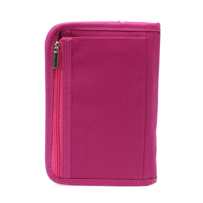 Women Multifunctional Canvas Clutch Bag Wallet Card Passport Holder Fuchsia