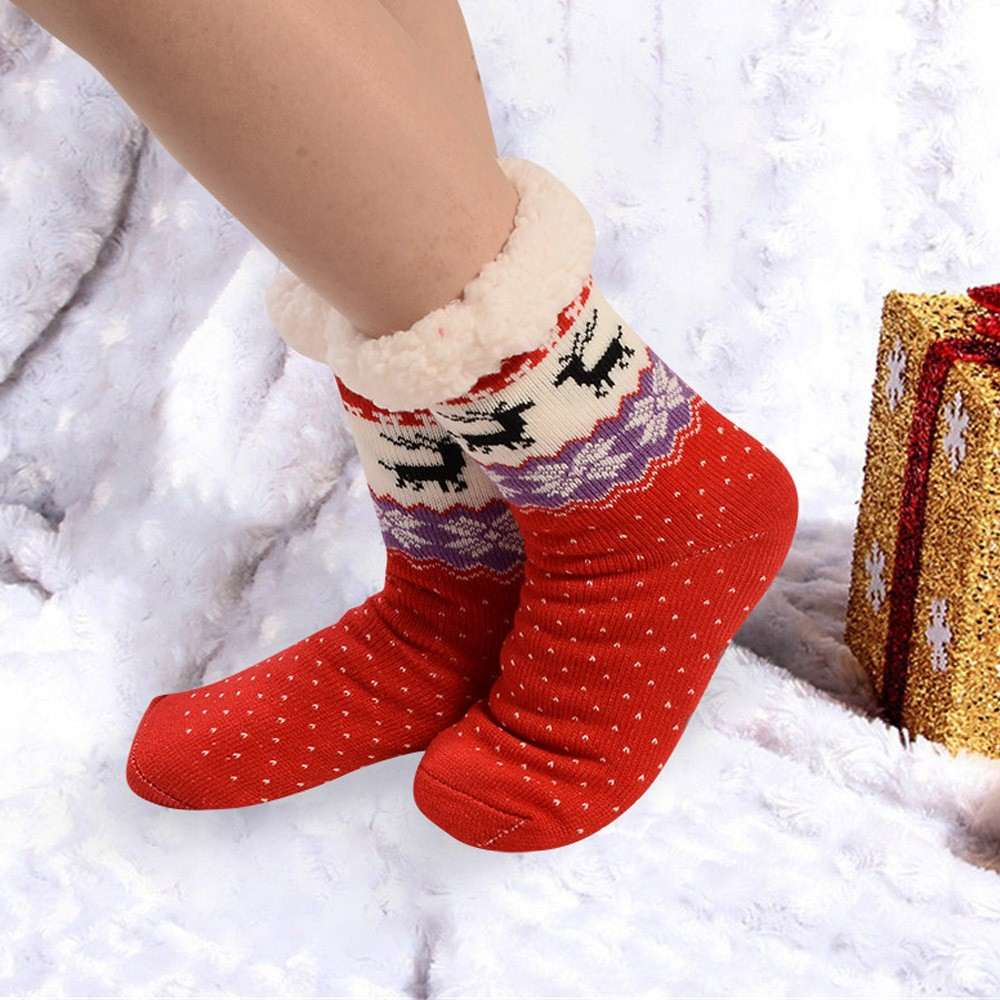 Lts Women Winter Thermal Cotton Socks,Women Cotton Socks Thicker Anti-slip Coral fleece Floor Socks Carpet Socks