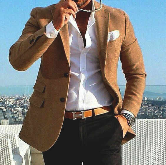 Brown Tweet Suit Men Blazer Smart Casual Business Tuxedo Men Suits for Wedding With Pants Slim Fit Street Winter Jacket Bespoke