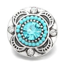 Hot Sale 10pcs/lot Metal Vintage Blue Crystal Round Snap Charms Fit 18mm Ginger Buttons Bracelets Necklace DIY Jewelry
