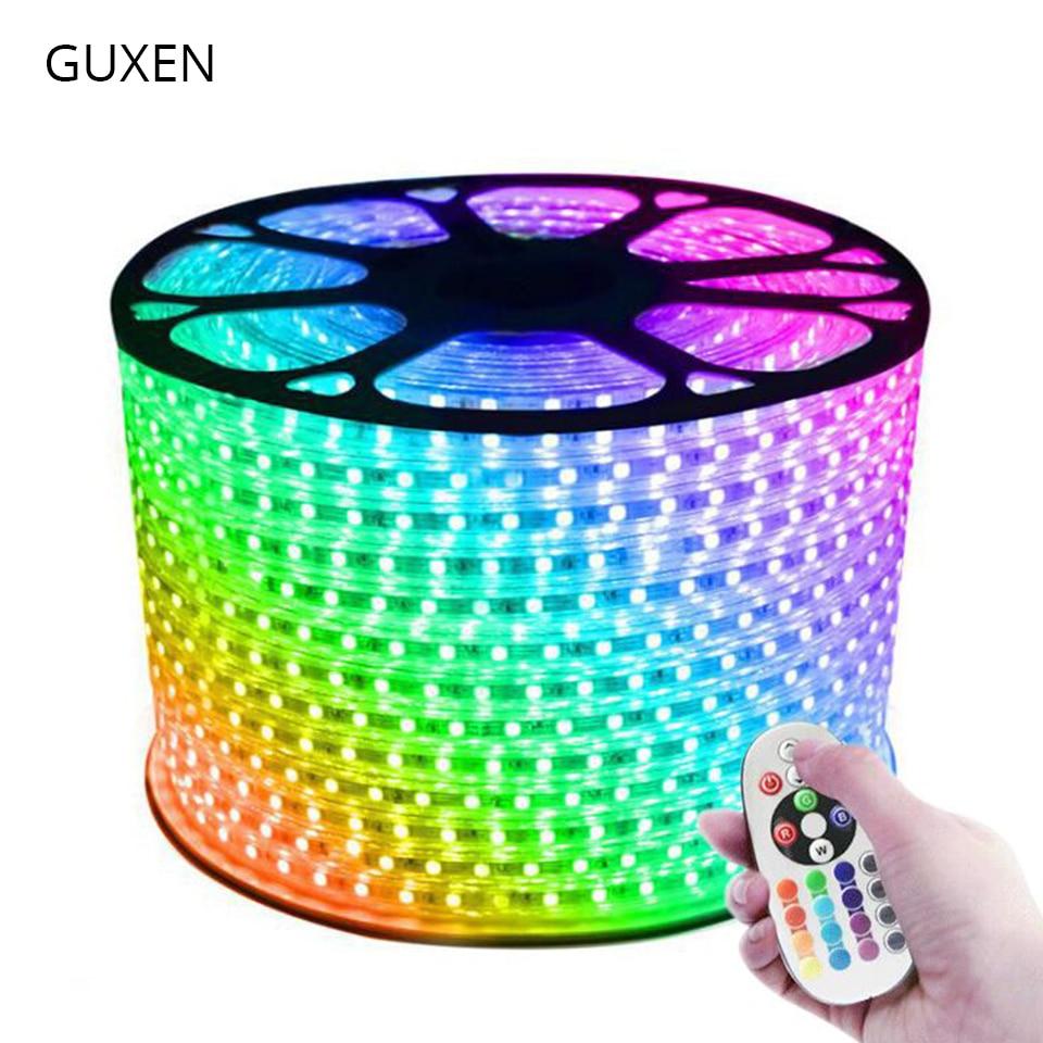 GUXEN 5050 RGB светодиодный светильник 110 В 220 В 60 светодиодов/м IP65 водонепроницаемая светодиодная лампа для гостиной + блок питания + ИК пульт дистанционного управления