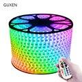 Guxen 5050 RGB светодио дный полосы света 110 V 220 V 60 светодио дный/M IP65 Водонепроницаемый светодио дный лампа для гостиной + Питание + ИК-пульт дистан...
