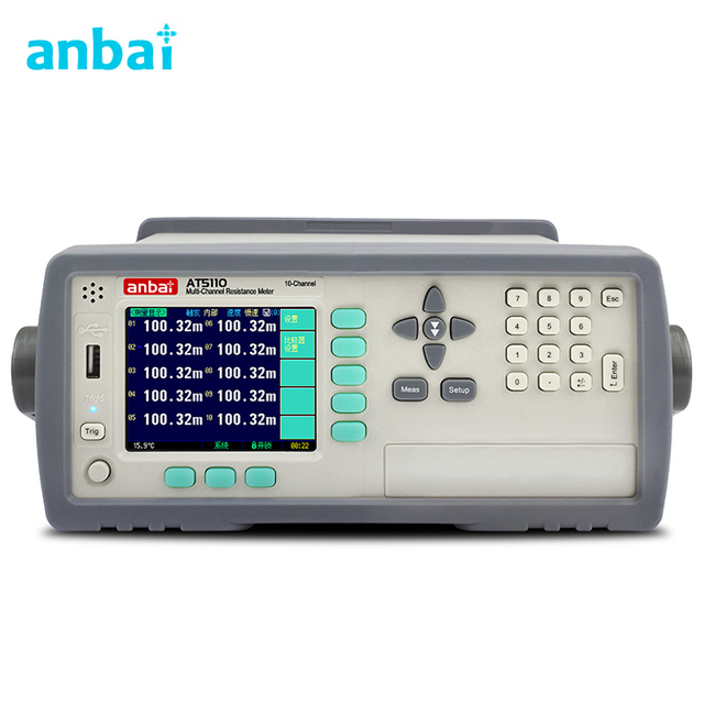 US $1348 5 7% OFF| AT5110 10Channels Hi accuracy 0 05% Winding Transformer  Coil DC Resistance Meter Scan Tester Comparator 1u 30Kohm RS232 Handler-in