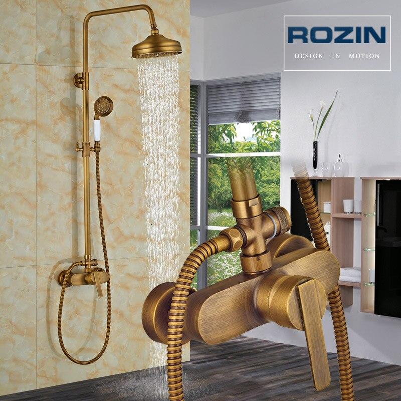 Bright Chrome Shower Set Shower Mixer Swivel Spout Bath Shower Faucet Wall Mount Stainless Steel Rainfall