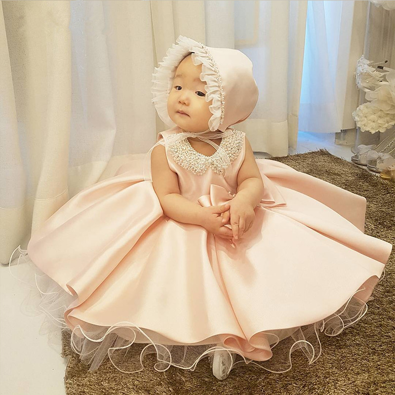 New Fashion Beaded Bow Flower Girl Dresses For Wedding Princess Fluffy Tulle Baby Girls Baptism Christening 1st Birthday Gown