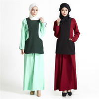 Muslim Casual Maxi Dress Southeast Asia Ethnic Geometric Two Piece Suit Abaya Loose Long Robe Gowns Turkey Middle East Clothing