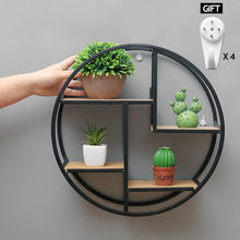 Retro Wooden Storage Racks Wall Hanging Decor Shelf Flower Pot House Storage Rack Wall Book Figurines Display Crafts Shelves(China)