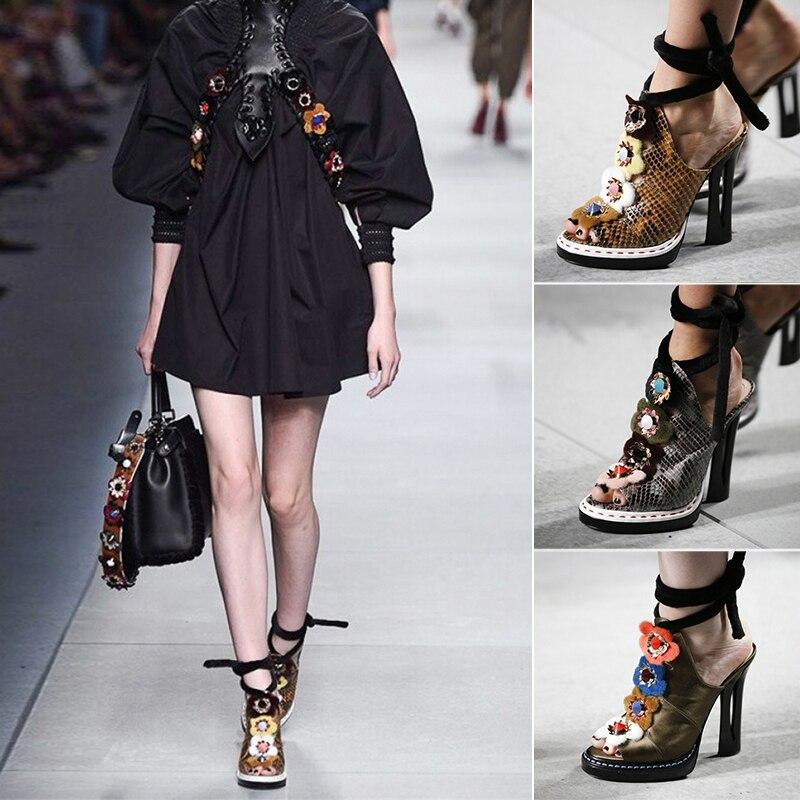 Marque de luxe Design défilé de mode femmes sandales été grande taille 34-43 en cuir véritable femmes Shose femme talons hauts