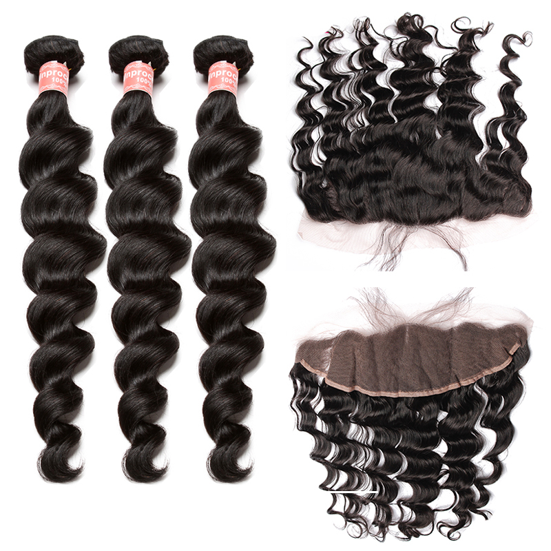 Remy Hair Bundles With Closure 3 Brazilian Hair Weave Bundles With13x4 Lace Frontal Closure Loose Wave 4 Pcs CARA Hair Products