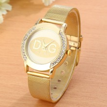 New Model DQG Gold Metallic Mesh Stainless Metal Ladies Watches Crystal Informal Quartz Watch Ladies Clock Relogio Feminino Scorching sale