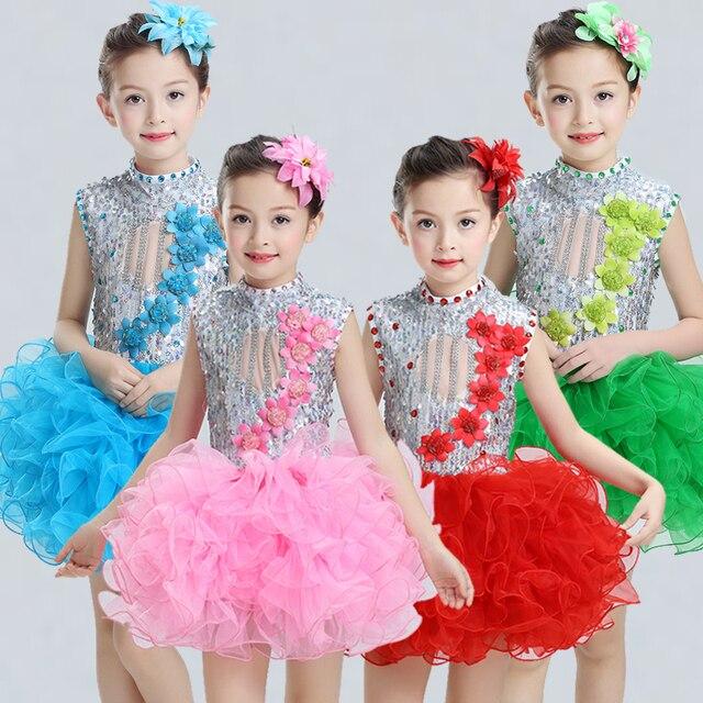 89fa2f6f1 € 12.66 15% de DESCUENTO|Moderno niños trajes de baile para niños  lentejuelas tutu vestido de baile para niñas salsa vestido de baile para  niñas ...