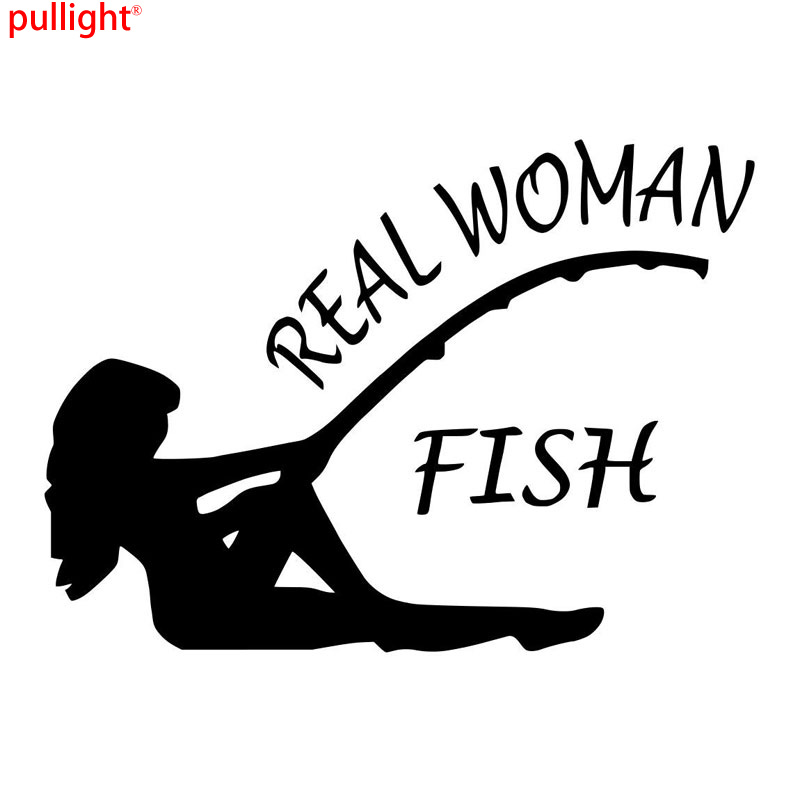 17CM*12CM 2017New Real Women Fish Bass Fishing Sticker Lure Crank Bait Decals MotorCycle SUVs Bumper Car Styling Stickers